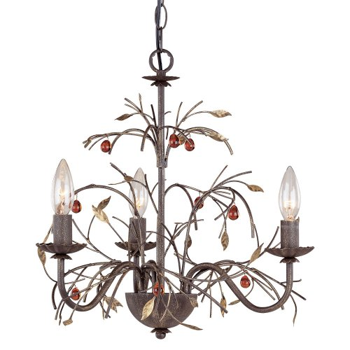 Laura Ashley Mx2004 Amberbrooke 3-Light Mini Chandelier, Gold Tone Copper front-850528