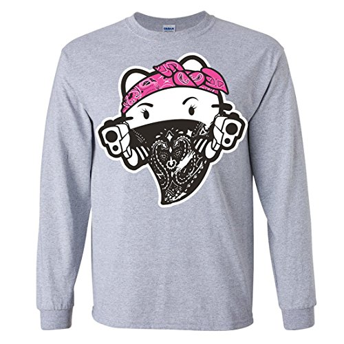 Hello Kitty Gangster Thug Long Sleeve Shirt - Sport Grey Large (Hello Kitty Gangster)