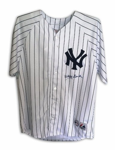 Whitey Ford Signed New York Yankees White Pinstripe Majestic Jersey at Amazon.com