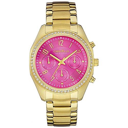 Caravelle by Bulova Women's Gold Tone Steel Bracelet & Case Quartz Pink Dial Chronograph Watch 44L168