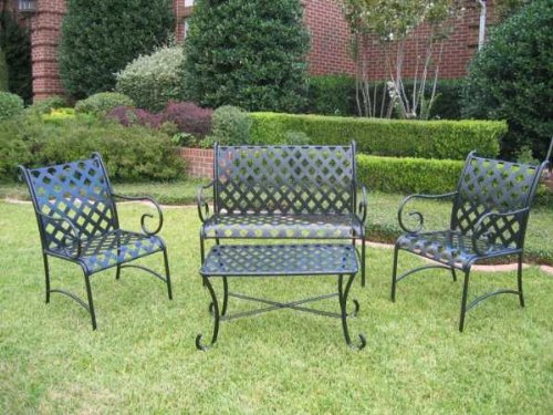 SLEIGH 4 PIECE IRON LOVESEAT SET - LOVESEAT, COFFEE TABLE and 2 CHAIRS - PATIO FURNITURE