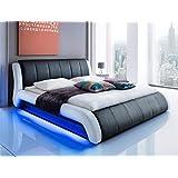 Polsterbett schwarz Bett 140x200 Kunstleder LED-Beleuchtung Singlebett Jugendbett Gästebett Bettgestell Designerbett...