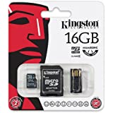 Kingston Multi Kit (Micro-SDHC con lector USB y un adaptador SD de tamaño estándar), 4 MB/s, 16 GB, Clase 4