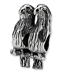 "925 Sterling Silver 3/8"" Love Birds Animal Jewelry Bead"