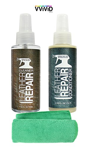 VVIVID Leather Cleaner & Conditioner 2 Bottle Complete Combo Pack Including Microfibre Towel (4oz Combo Kit) (Maguires Leather Conditioner compare prices)
