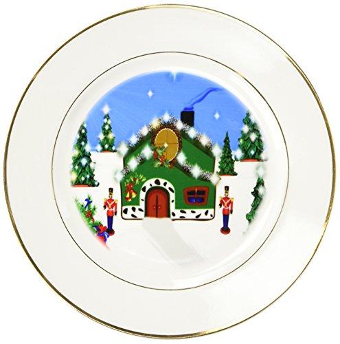 3dRose cp_101151_1 Christmas Nutcracker House-Porcelain Plate, 8-Inch