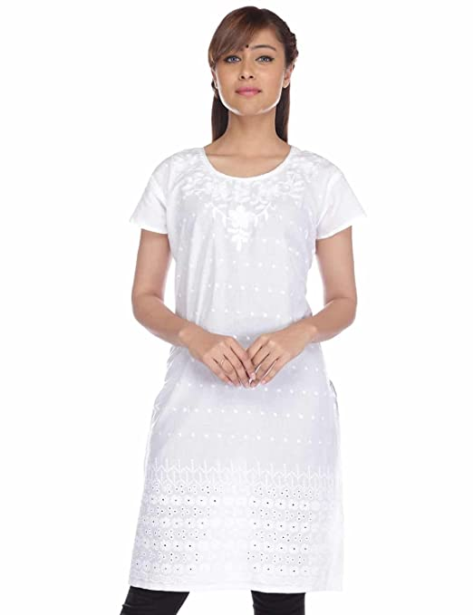 PINK ALMIRAH Women White Embroidered Kurta available at Amazon for Rs.319