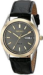 Seiko Men's SNE050 Solar Strap Charcoal Dial Watch
