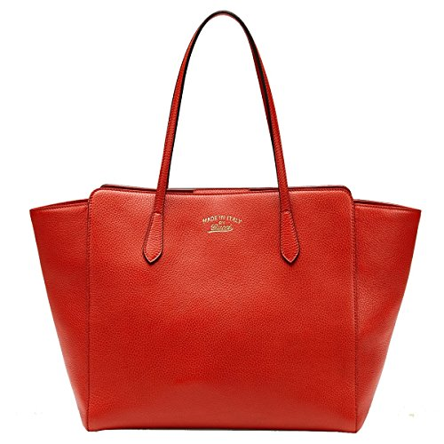 Gucci Swing Orange Red Leather Shoulder Tote Handbag 354397