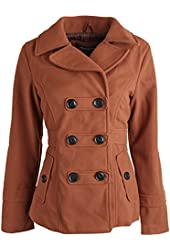 Urban Republic Junior Women Wool Look Double Breasted Classic Winter Pea Coat