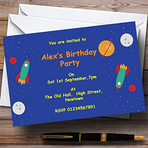 Outer Space Rocket Blue Personalized Birthday Party Invitations (Outer Space Invitations compare prices)