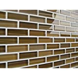 10 Sq Ft - Forest Blanket Mostly Brown Hand Painted Glass Mosaic Subway Tiles