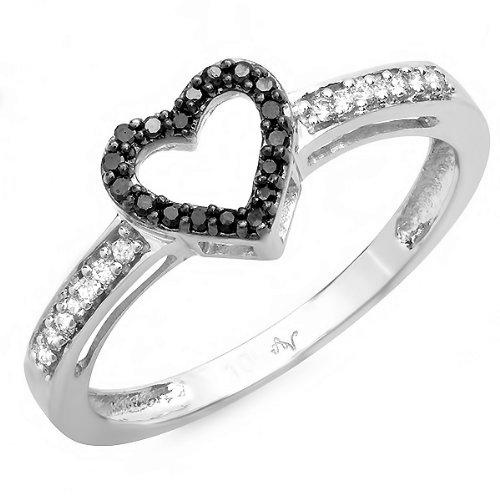 0.12 Carat (ctw) 10K White Gold Round Black and White Diamond Ladies Promise Heart Love Engagement Two Tone Ring