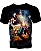 Rock Chang T-Shirt Smoking Skull (Glow In The Dark) GR 333