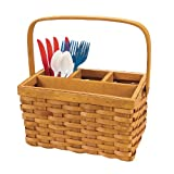 Wicker woven BASKET Bbq picnic eating UTENSIL CADDY flatware silverware holder organizer container