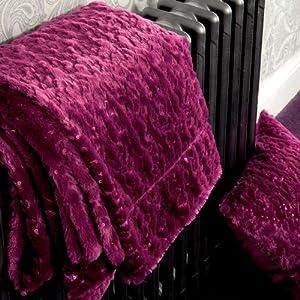 Aurora Sequins Magenta Purple Supersoft Faux Fur Throw 150cm x 200cm
