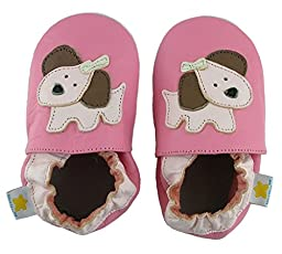 Ministar Girls Baby Infant Toddler Prewalker Leather Shoes - Rose Puppy - Large 12-18 mo.