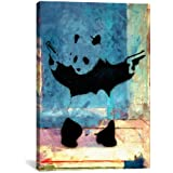iCanvasART Panda with Guns Blue Square Canvas Art Print by Banksy, 12 by 8-Inch