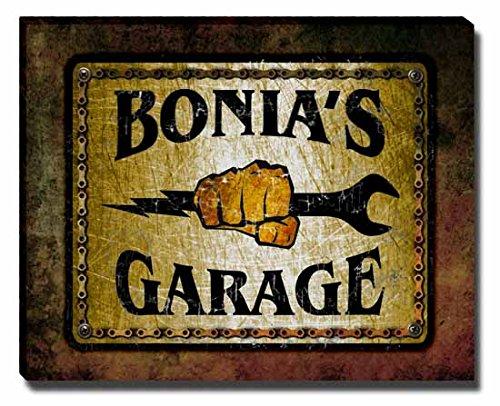bonias-garage-stretched-canvas-print
