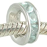 March Birthstone Channel Set Aquamarine CZ and 925 Sterling Silver Spacer Bead fits European Charm Bracelet