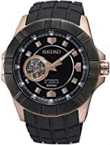 Seiko Automatic Black Dial Rose Gold-Tone Stainless Steel Mens Watch SSA078