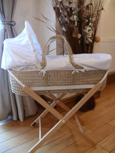 White Spotty Puppy Baby Moses Basket With Stand