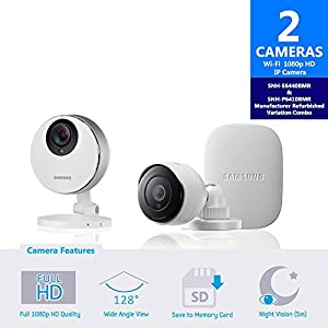 Samsung SmartCam Full HD Pro 1080p Wifi IP Camera Indoor and Outdoor Bundle SNH-P6410BMR and SNH-E6440BMR-Certified Manufacturer Refurbished