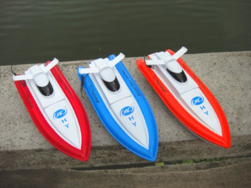 A Set Of 3 NC Brand New 12 Inches Beautiful 4 Channels Radio Controlled RC Speed Boats (1) Blue & (1) Red & (1) Orange