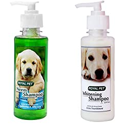 Royal Pet No Tear , Whitening and Neem Shampoo Combo (200 + 200ml) (Neem Shampoo + Whitening Shampoo)
