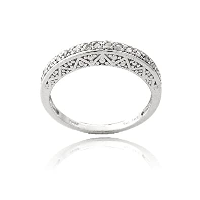 Sterling Silver & 1/6ct Diamond Semi-Eternity Band Ring