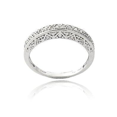 Sterling Silver & 1/6ct Diamond Semi-Eternity Band Ring