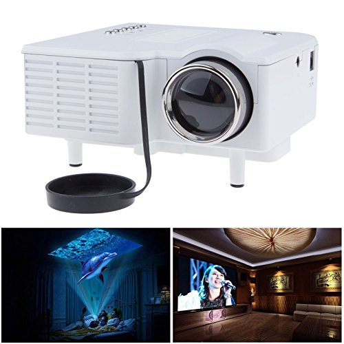 Sunsbell Portable Mini Hd LED Projector Cinema Theater,Support PC Laptop HDMI VGA Input and SD + USB + AV Input,for iphone,galaxy,laptop,mac.with Remote Control White