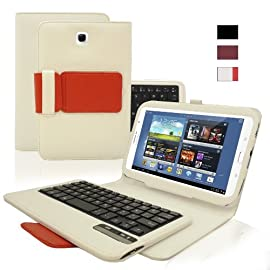 KHOMO ® White and Red PU Leather Cover Case with Removable Bluetooth Keyboard for Samsung Galaxy Note 8.0