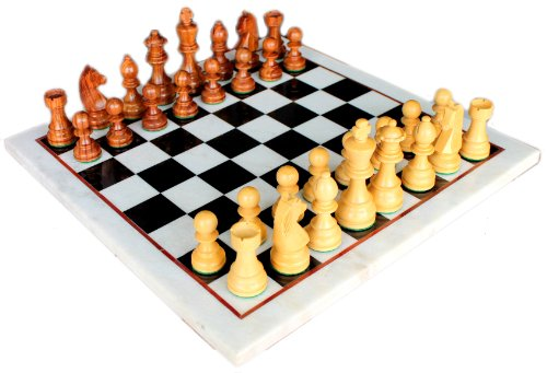 "15"" X 15″ Collectible Marble Chess Game Board Set Wood Crafted Pieces"