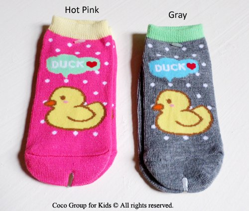 2-Pack Duck Socks For Toddlers/Small Children-Anti Slip Soles (1 Pair Hot Pink+1 Pair Gray) front-48352