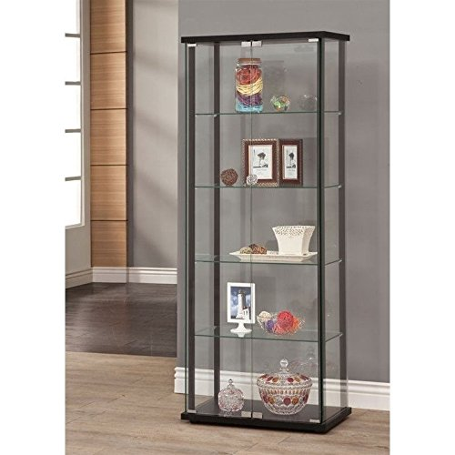 Coaster Home Furnishings 950170 Curio Cabinet, Black (Glass Door Display Cabinet compare prices)