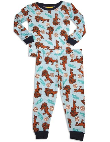 Scooby Doo - Little Boys Long Sleeve Thermal Scooby Doo Pajamas, Light Blue, Navy 29947-2T front-260207