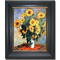 Sunflowers by Monet Premium Black & Gold Framed Canvas (Ready-to-Hang)