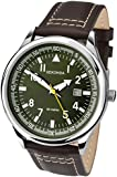 Sekonda Men's Quartz Watch with Green Dial Analogue Display and Brown Leather Strap 1072.71