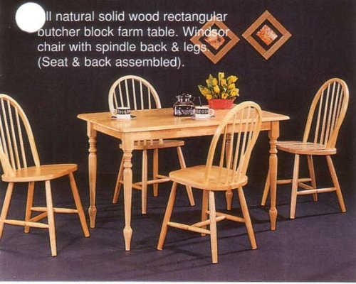 New Natural Butcher Block Farm Dining Table & 4 Chairs