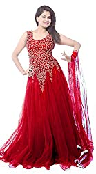 Clickedia Women's Net Ethnic Gown (Dark Red net gown_Red_Free Size)