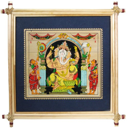 Framed Ganesh Painting with a Cane Frame