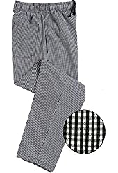 Unisex Contemporary Black & White Check Baggy Chef Pants