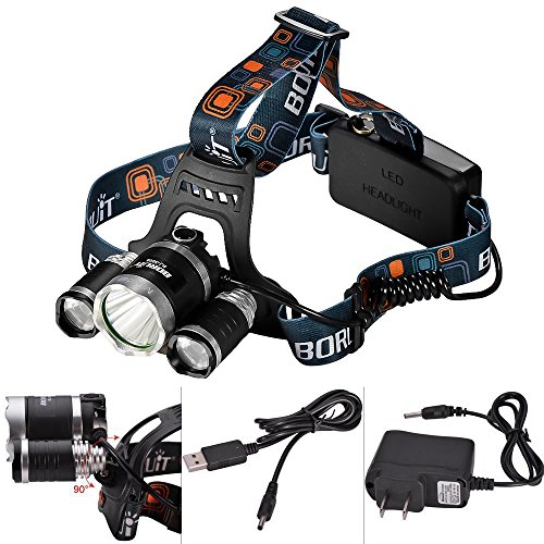 Mudder® Led Headlamp Torch Flashlight Super Bright (Head Strap Wall Charger And Usb Cable Included, 3 Cree T6, 4Modes(Low>Mid>High>Strobe), Powered By 2 18650 Rechargeable (Not Included))