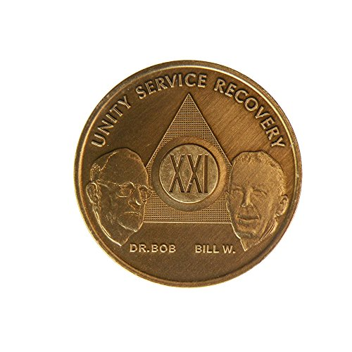21 Year Bill & Bob Founders Edition Bronze AA (Alcoholics Anonymous) - Sober / Sobriety / Birthday - Anniversary Recovery Medallion / Coin / Chip by Generic - 1