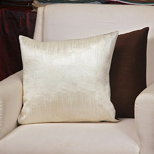 ZEBA Polyester Reversible Plain Off-white / Brown Cushion cover (Size :16