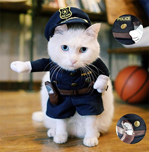PetsLove Pet Policeman Costume Small Dog Clothes Cat Funny Apperal (Funny Pet Costume)