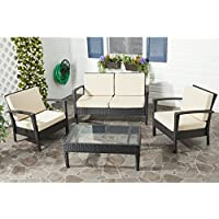 Mercury Row Cade 4-Piece Deep Seating Group Set with Cushion (Charcoal / Beige)