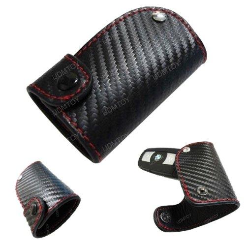 iJDMTOY 3D Carbon Fiber Pattern Genuine Premium Leather Remote Smart Key Holder FOB (2.8