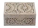 Premium Giftz stone Jewellery/Trinket Box handmade handcarved with lid ( 15 x 10 x 7, cm White)